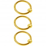 3pc 16g Captive Bead Ring Lip Rook Forward Helix Cartilage Septum Rim Tragus Belly Navel Eyebrow Conch 10mm Gold