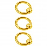 3pc 16g Captive Bead Ring Lip Rook Forward Helix Cartilage Septum Rim Tragus Belly Navel Eyebrow Conch 6mm Gold
