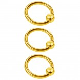 3pc 16g Captive Bead Ring Lip Rook Forward Helix Cartilage Septum Rim Tragus Belly Navel Eyebrow Conch 8mm Gold
