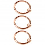 3pc 16g Captive Bead Ring Lip Rook Forward Helix Cartilage Septum Rim Tragus Belly Navel Eyebrow Conch 10mm Rosegold