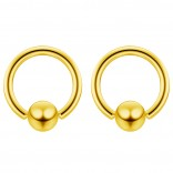 2pc Gold 16g 4mm Ball Closure Ring Captive Bead Piercing Lip Tragus Septum Cartilage Navel Forward Helix Rook Nose Belly Conch - 6mm