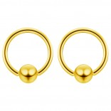 2pc Gold 14g 6mm Ball Closure Ring Captive Bead Piercing Lip Tragus Septum Cartilage Navel Forward Helix Rook Nose Belly Conch - 10mm