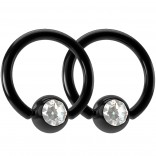2pc 16g Black Captive Bead Ring Gem Crystal Earring Hoop Ear Tragus Jewelry Cubic Zirconia