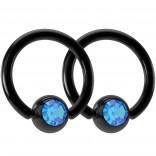 2pc 16g Black Captive Bead Ring Gem Crystal Earrings Hoop Cartilage Jewelry Blue Zircon