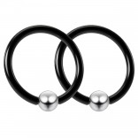 2pc Black 16g Captive Bead Ring Helix Tragus Conch Daith Rook Snug Septum Eyebrow Steel 4mm Ball BCR