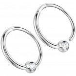2pc 16g Hinged Captive Bead Ring Clicker Helix Earring Nose Hoop Cartilage Tragus Lip Septum Rook Forward Eyebrow 8mm Cubic Zirconia CZ