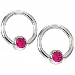 2pc 16g Captive Bead Ring Earrings Fuchsia Pink Crystal 8mm 5/16 Septum Piercing Jewelry