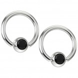 2pc 16g Captive Bead Ring Earrings Jet Black Crystal 8mm 5/16 Gem Septum Piercing Jewelry
