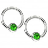 2pc 16g Captive Bead Ring Earrings CZ Peridot Green Crystal 8mm 5/16 Gem Piercing Jewelry