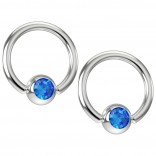 2pc 16g Captive Bead Ring Earrings CZ Sapphire Blue Crystal 8mm 5/16 Gem Piercing Jewelry