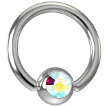 16 Gauge Titanium Captive Bead Ring Hoop Earring Crystal Aurora Borealis AB Gem 8mm 5/16