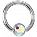 16 Gauge Titanium Captive Bead Ring Hoop Earring Crystal Aurora Borealis AB Gem 8mm 5/16