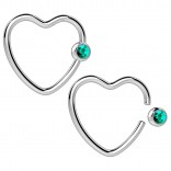 2pc 16g Heart Captive Bead Ring Hoop Earring CBR Cartilage Daith Rook Surgical Steel Auricle Blue
