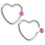 2pc 16g Heart Captive Bead Ring Hoop Earring CBR Cartilage Daith Rook Helix Surgical Steel Auricle