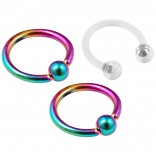 2pc 16g Rainbow Captive Bead Ring Hoop Septum Cartilage Nose Lip Eyebrow Helix 10mm - inc Retainer