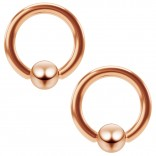 2pc 16g Rose Gold Captive Bead Ring Hoop Septum Cartilage Nose Lip Eyebrow Tragus Helix Rook 8mm