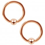 2pc 16g Rose Gold Captive Bead Ring Hoop Septum Cartilage Nose Lip Eyebrow Tragus Helix Rook 10mm