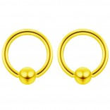 2pc Gold 16g Ball Closure Ring Captive Bead Piercing Lip Tragus Septum Cartilage Navel Forward Helix Rook Nose Belly Conch - 6mm