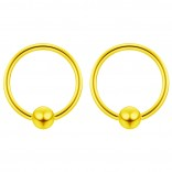2pc Gold 18g Ball Closure Ring Captive Bead Piercing Lip Tragus Septum Cartilage Navel Forward Helix Rook Nose Belly Conch - 8mm