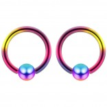 2pc Rainbow 16g Ball Closure Ring Captive Bead Piercing Lip Tragus Septum Cartilage Navel Forward Helix Rook Nose Belly Conch - 6mm
