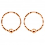 2pc Rose Gold 16g Ball Closure Ring Captive Bead Piercing Lip Tragus Septum Cartilage Navel Forward Helix Rook Nose Belly Conch - 10mm