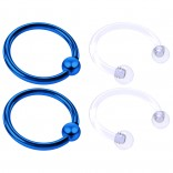 4pc Blue Anodized 16 Gauge Captive Hoop Ring Piercing Jewelry 16g Nose Eyebrow Tragus Cartilage Septum 3mm Ball Circular Barbell Horseshoe Retainers - 10mm 3/8