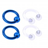 4pc Blue Anodized 16 Gauge Captive Hoop Ring Piercing Jewelry 16g Nose Eyebrow Tragus Cartilage Septum 3mm Ball Circular Barbell Horseshoe Retainers - 6mm 1/4