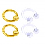 4pc Gold Anodized Anodized 16 Gauge Captive Hoop Ring Piercing Jewelry 16g Nose Eyebrow Tragus Cartilage Septum 3mm Ball Circular Barbell Horseshoe Retainers - 6mm 1/4