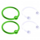 4pc Green Anodized 16 Gauge Captive Hoop Ring Piercing Jewelry 16g Nose Eyebrow Tragus Cartilage Septum 3mm Ball Circular Barbell Horseshoe Retainers - 12mm 1/2