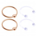 4pc Rose Gold Anodized 16 Gauge Captive Hoop Ring Piercing Jewelry 16g Nose Eyebrow Tragus Cartilage Septum 3mm Ball Circular Barbell Horseshoe Retainers - 12mm 1/2