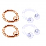 4pc Rose Gold Anodized 16 Gauge Captive Hoop Ring Piercing Jewelry 16g Nose Eyebrow Tragus Cartilage Septum 3mm Ball Circular Barbell Horseshoe Retainers - 6mm 1/4
