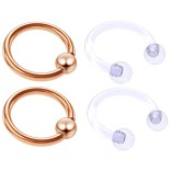4pc Rose Gold Anodized 16 Gauge Captive Hoop Ring Piercing Jewelry 16g Nose Eyebrow Tragus Cartilage Septum 3mm Ball Circular Barbell Horseshoe Retainers - 8mm 5/16