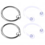 4pc Steel Anodized 16 Gauge Captive Hoop Ring Piercing Jewelry 16g Nose Eyebrow Tragus Cartilage Septum 3mm Ball Circular Barbell Horseshoe Retainers - 10mm 3/8
