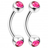 2pc 16g 6mm 1/4 Curved Barbell Ring Piercing Jewelry Rook Cartilage Tragus Daith Eyebrow Nipple 3mm Crystal 16 Gauge - Rose