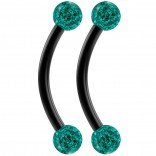 2pc 16g Black Curved Barbell 10mm Crystal Ring Cartilage Rook Daith Eyebrow Helix Blue Zircona