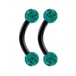 2pc 16g Black Curved Barbell 6mm Crystal Ring Cartilage Rook Daith Eyebrow Helix Blue Zircona