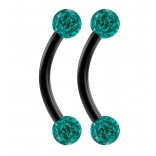 2pc 16g Black Curved Barbell 8mm Crystal Ring Cartilage Rook Daith Eyebrow Helix Blue Zircona