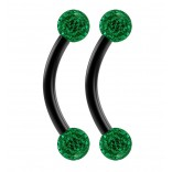 2pc 16g Black Curved Barbell 8mm Crystal Ring Cartilage Rook Daith Eyebrow Helix Emerald Ferido