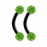 2pc 16g Black Curved Barbell 6mm Crystal Ring Cartilage Rook Daith Eyebrow Helix Ferido Peridot