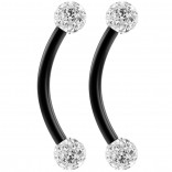 2pc 16g Black Curved Barbell 10mm Crystal Ring Cartilage Rook Daith Eyebrow Helix Ferido CZ Gems