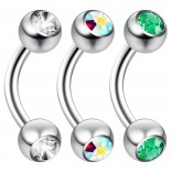 2pc 14 Guage 8mm Surgical Steel Piercing Barbell Curved Crystal Rook Daith Lip 14g Cartilage Labret Bridge Conch CZ AB Aurora Borealis Emerald