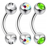 2pc 14 Guage 8mm Surgical Steel Piercing Barbell Curved Crystal Rook Daith Lip 14g Cartilage Labret Bridge Conch CZ AB Aurora Borealis Peridot