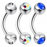 2pc 14 Guage 8mm Surgical Steel Piercing Barbell Curved Crystal Rook Daith Lip 14g Cartilage Labret Bridge Conch CZ AB Aurora Borealis