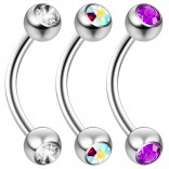 2pc 16 Guage 8mm Surgical Steel Piercing Barbell Curved Crystal Rook Daith Lip 16g Cartilage Labret Bridge Conch Aurora Borealis