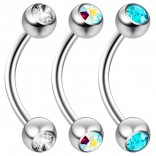 2pc 16 Guage 8mm Surgical Steel Piercing Barbell Curved Crystal Rook Daith Lip 16g Cartilage Labret Bridge Conch Aqua