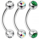 2pc 16 Guage 8mm Surgical Steel Piercing Barbell Curved Crystal Rook Daith Lip 16g Cartilage Labret Bridge Conch Amethyhst