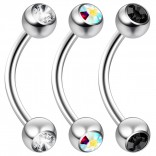 2pc 16 Guage 8mm Surgical Steel Piercing Barbell Curved Crystal Rook Daith Lip 16g Cartilage Labret Bridge Conch CZ
