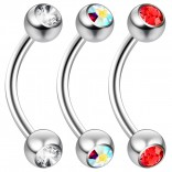 2pc 16 Guage 8mm Surgical Steel Piercing Barbell Curved Crystal Rook Daith Lip 16g Cartilage Labret Bridge Conch Jet