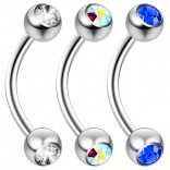 2pc 16 Guage 8mm Surgical Steel Piercing Barbell Curved Crystal Rook Daith Lip 16g Cartilage Labret Bridge Conch Rose