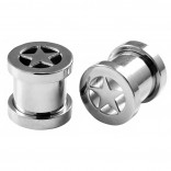 2pc 0g Ear Gauges Star Screw Fit Flesh Tunnels Surgical Steel Expander Stretcher Plugs Double Flared For Gauging Out